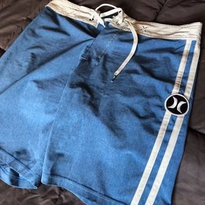 Robin's Egg Blue and White Swim Trunk Board Shorts